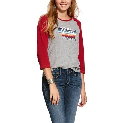 10028269 WMS REAL AMERICAN 3 4 SLV SHRT HTHER GRY