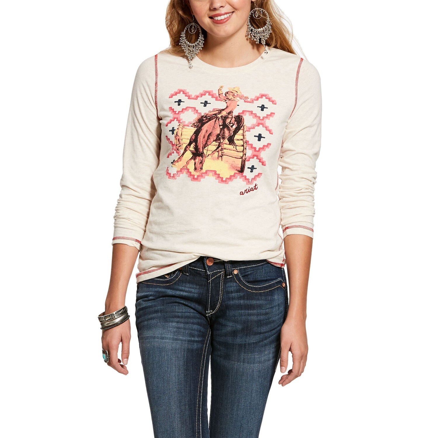 10028090 WMS COWGIRLS WLD LS SHT OATMEAL HTHER
