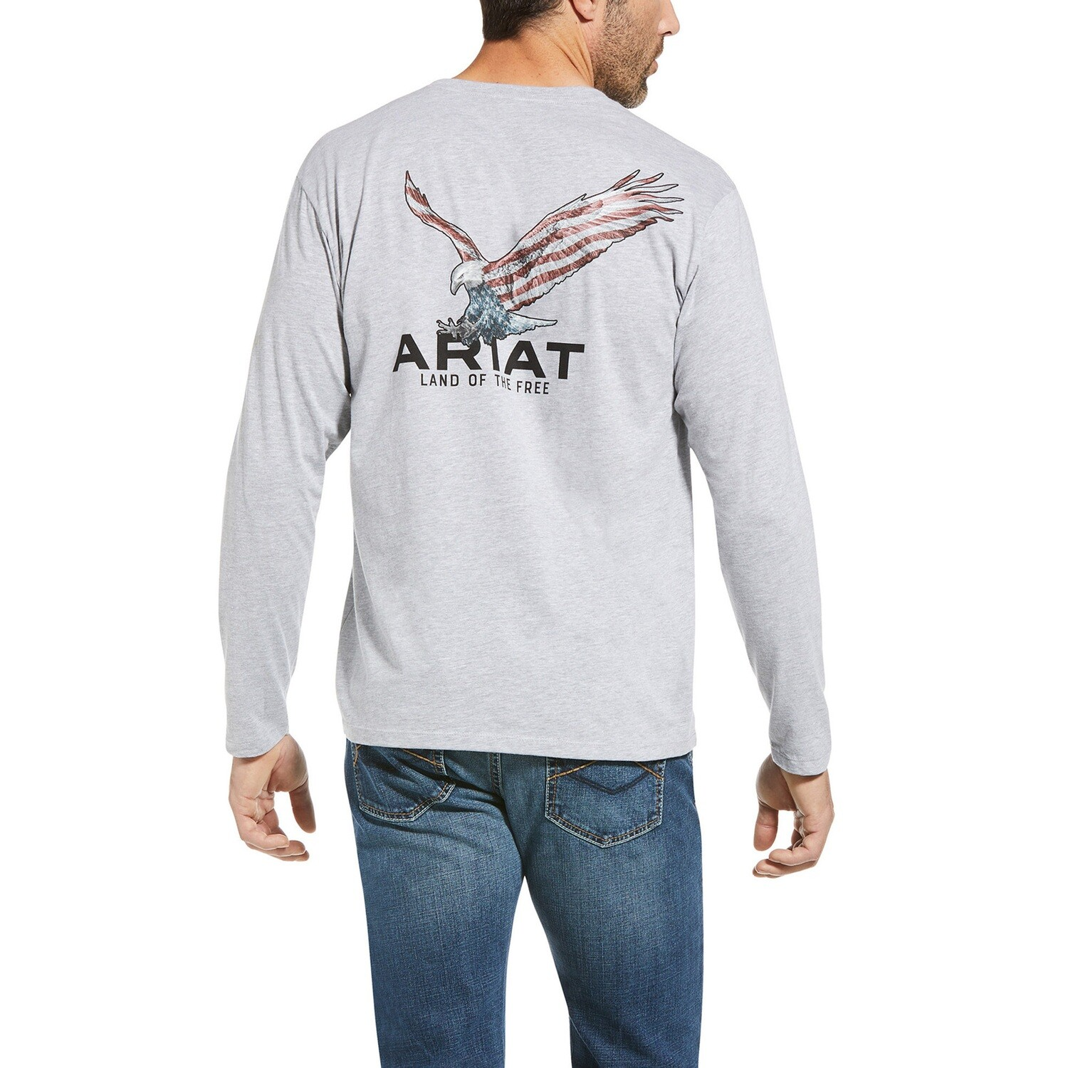 10034366 MNS ARIAT USA WINGS LS T SHRT ATHLETIC H