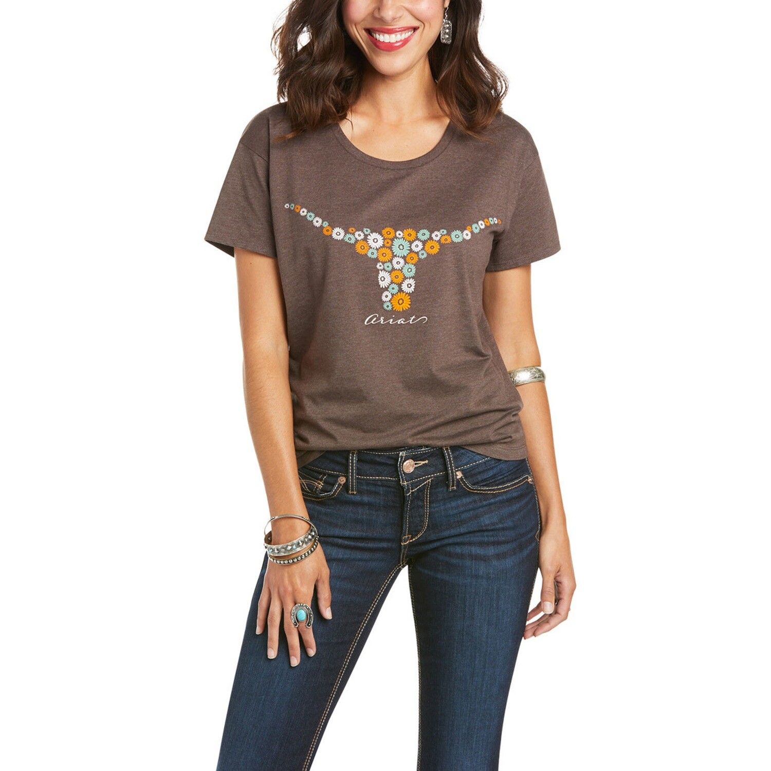 10035793 WMS ARIAT DAISIES SS TEE BROWN HEATHER