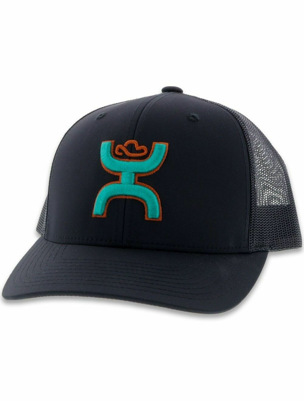 2006T BKGY Sterling Hooey Black 6 Panel Trucker with Turquoise and Orange Logo OSFA