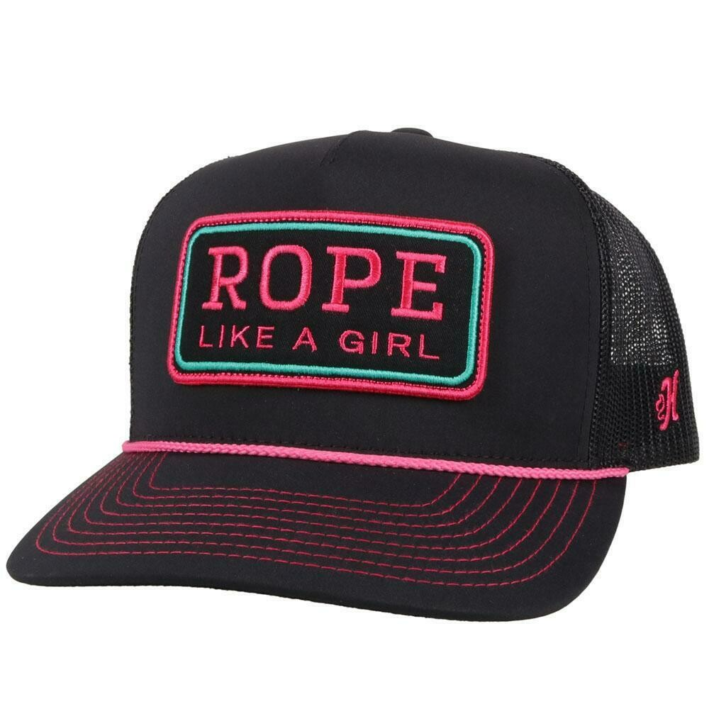 2149T BK Rope Like A Girl Black 5 Panel Trucker with Black Pink Rectangle Patch OSFA