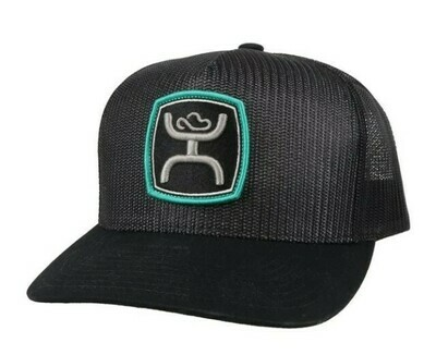 2124T BK Zeneith Black 5 Panel Trucker with Grey Turquoise Patch OSFA