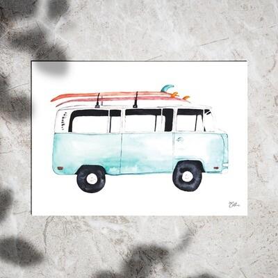Art Print - Watercolor Van