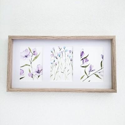 3 Mini paintings wildflowers purple (#1, #2, #3)