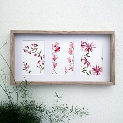 3 Mini paintings wildflowers red/pink (#4, #5, #6)