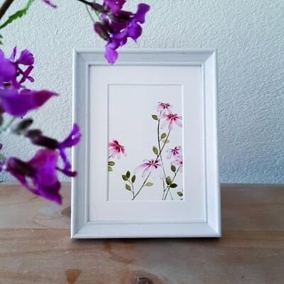 1 Mini wildflower painting pink (#7)