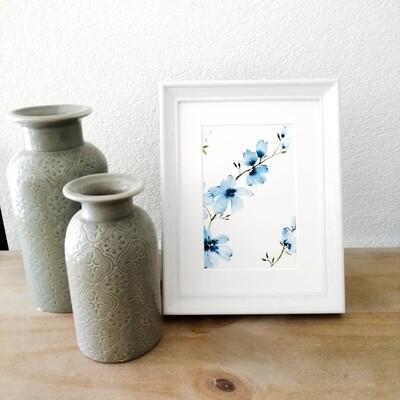 1 Mini wildflower painting blue (#10)