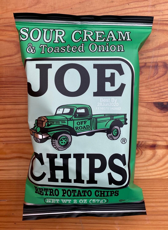 Joe Chips Sour Cream & Toasted Onion Potato Chips, 2 oz. bag