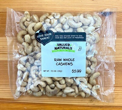 Raw Whole Cashews, 7.5 oz.