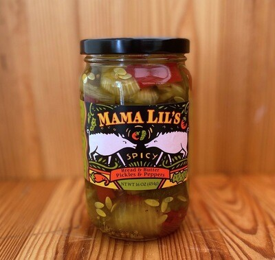 Mama Lil's Spicy Bread & Butter Pickles & Peppers 16 oz.