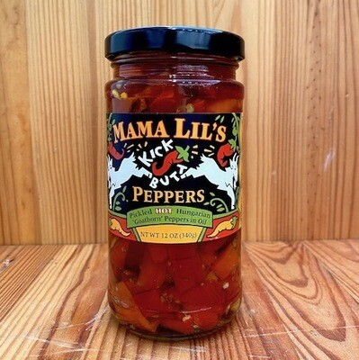 Mama Lil's Kick Butt Goathorn Peppers - HOT, 12 oz. jar