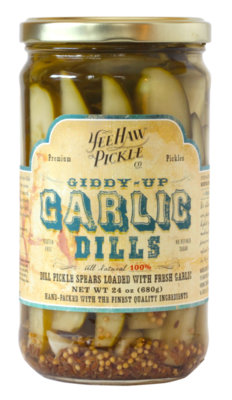 YEE-HAW! Giddy Up Garlic Dills 24 oz. jar