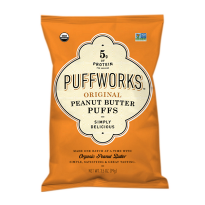 Puffworks Original Peanut Butter Puffs, ORGANIC 3.5 oz. bag