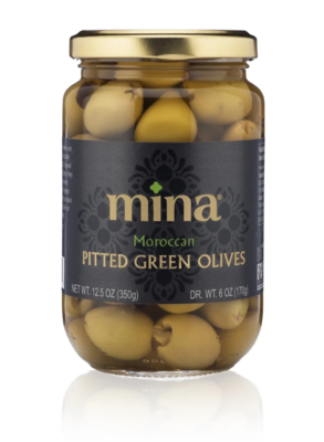 mina Moroccan Green Picholine Olives, pitted 12.5 oz.