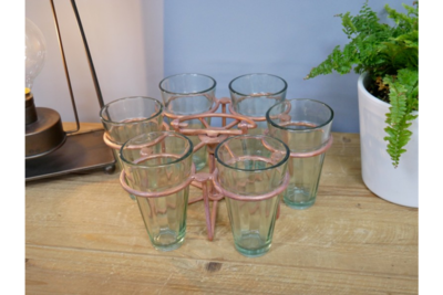 Antique Copper Glass Set