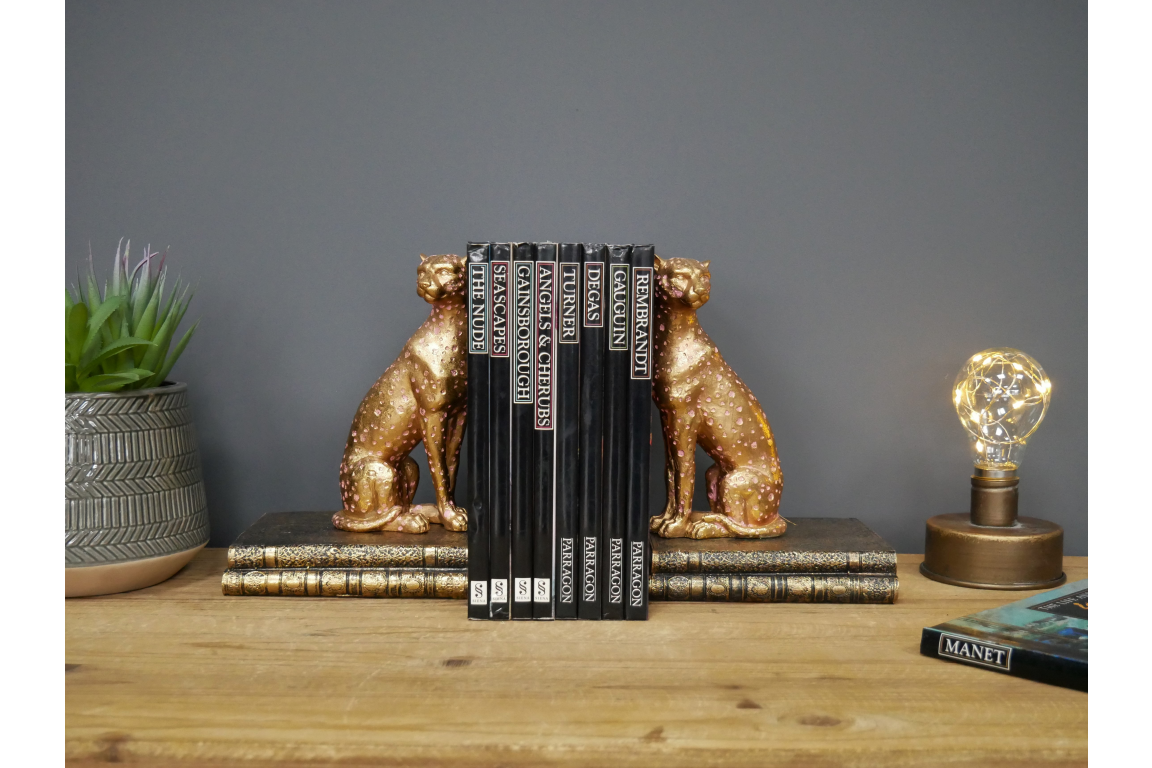 Gold Cheetah Book Ends