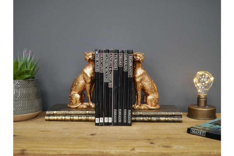 Gold Cheetah Book Ends