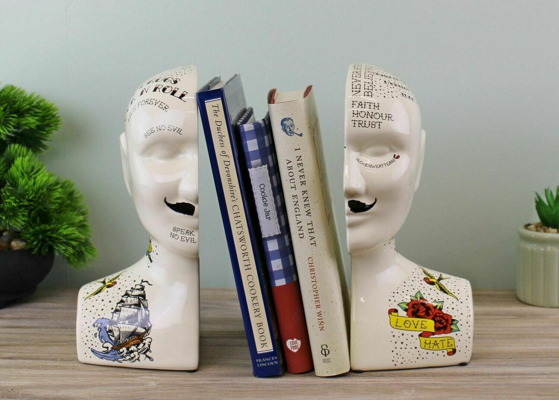 Ornamental Ceramic Phrenology Bookends