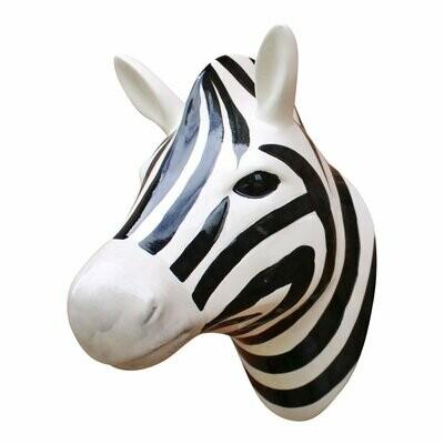 Wall Mounted Ceramic Zebra Head