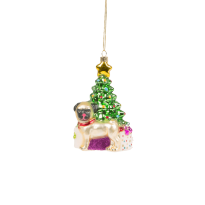 Novelty Pug Christmas Tree Bauble