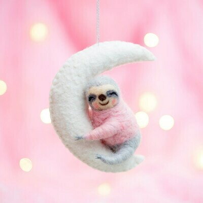 Sloth On The Moon Hanging Decoration