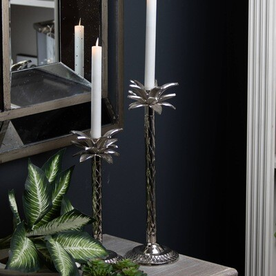 Silver Palm Tree Candle Holder In A Nickel Finish