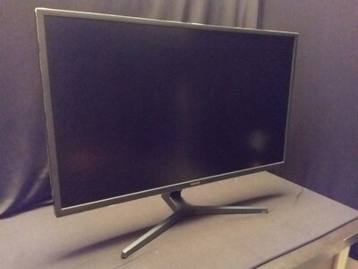 "Samsung - UJ59 Series U32J590UQN 32"" LED 4K UHD FreeSync Monitor - Dark Gray/Blue - SM32UJ-0"