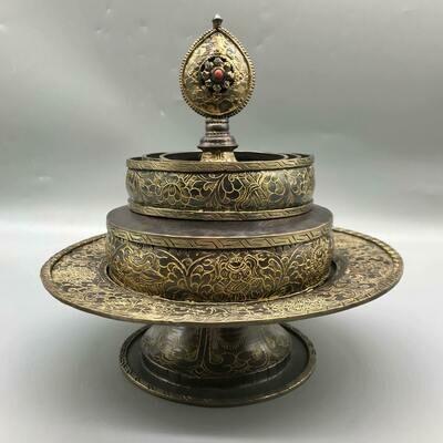 Mandala Offering Set - Hand-carved Copper