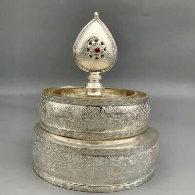 Mandala Offering Set Hand-carved Silver