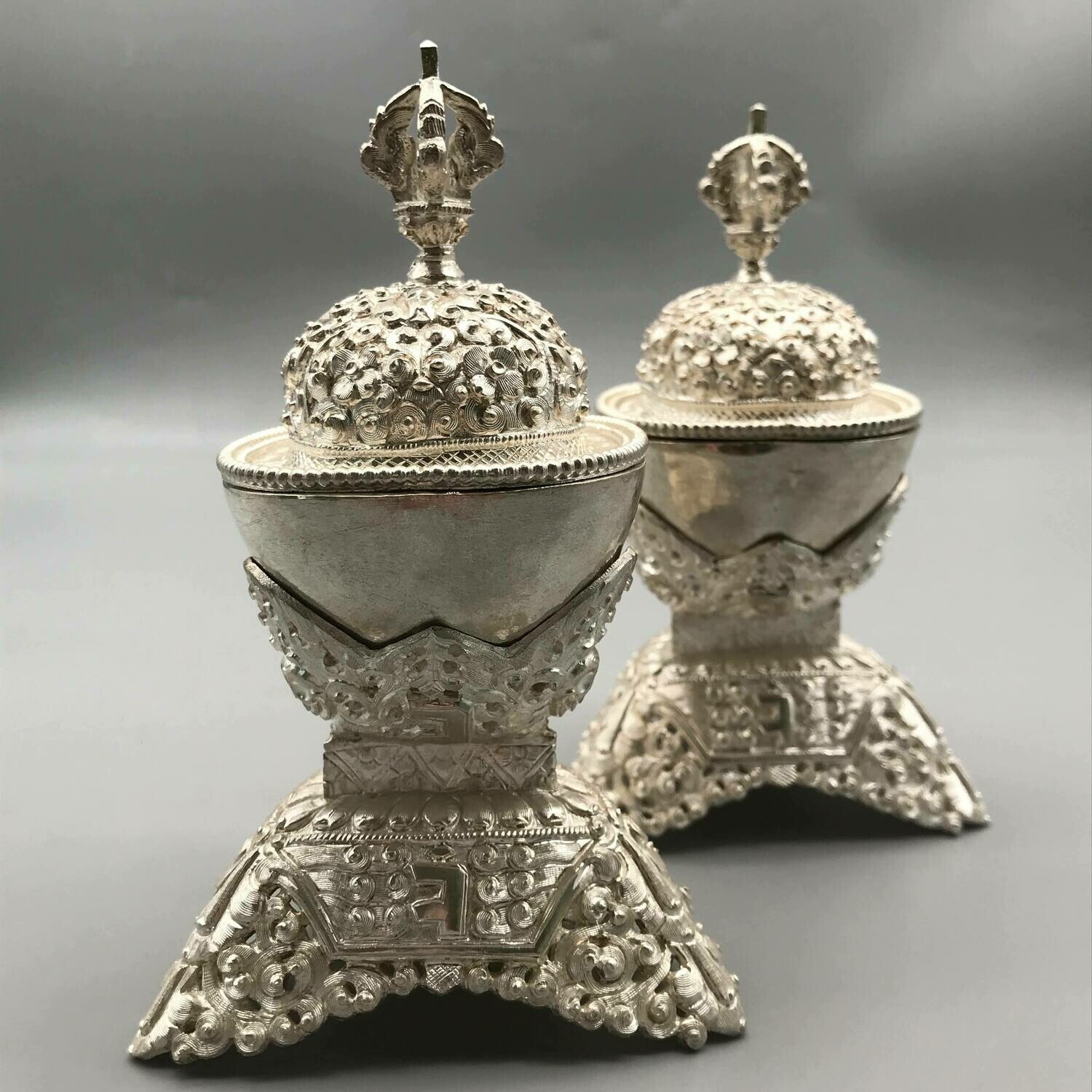 Silver Kapala Pair -  Hand-carved