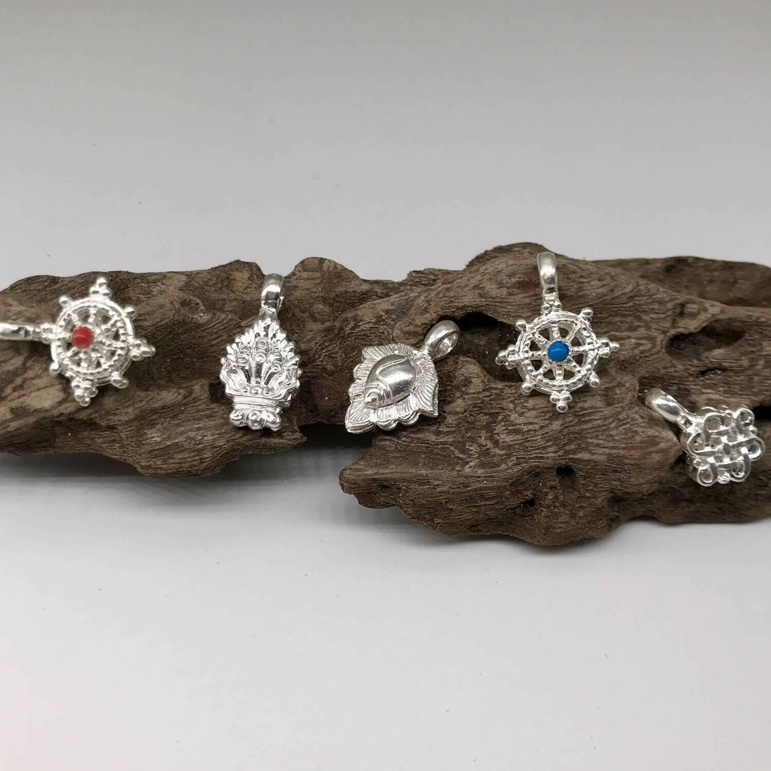 Silver Bhum counters for Buddhist Rosary
