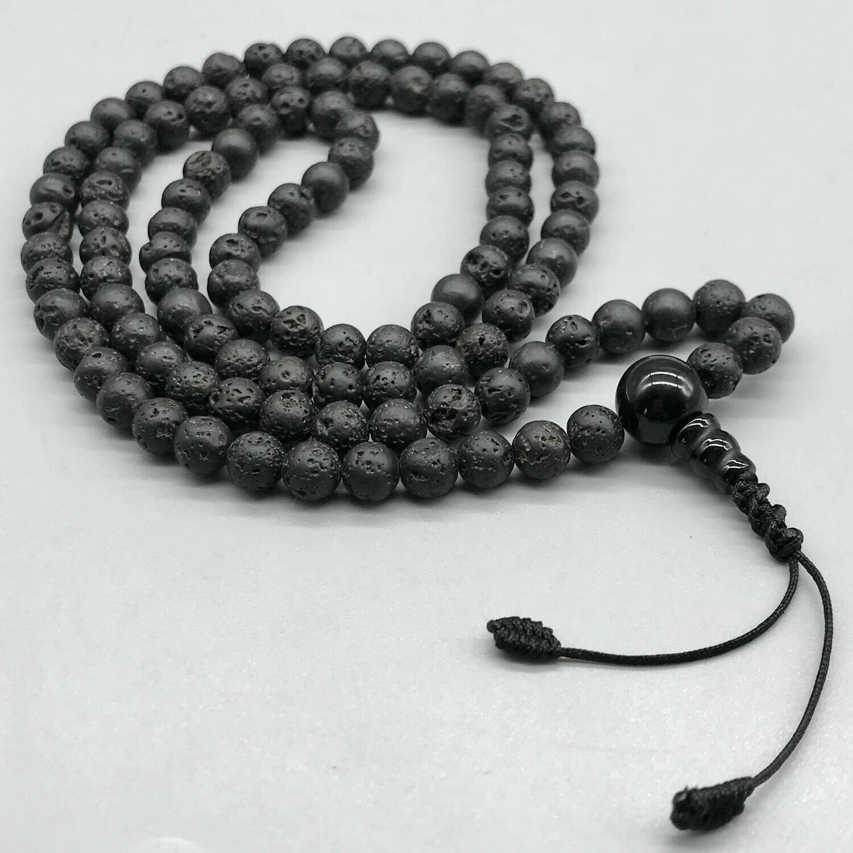 Black Lava Stone (Volcanic) Mala 108 bead for Practice