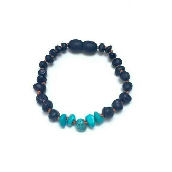 CanyonLeaf - Raw Black Amber + Raw Turquoise Howlite Child Anklet or Bracelet $18