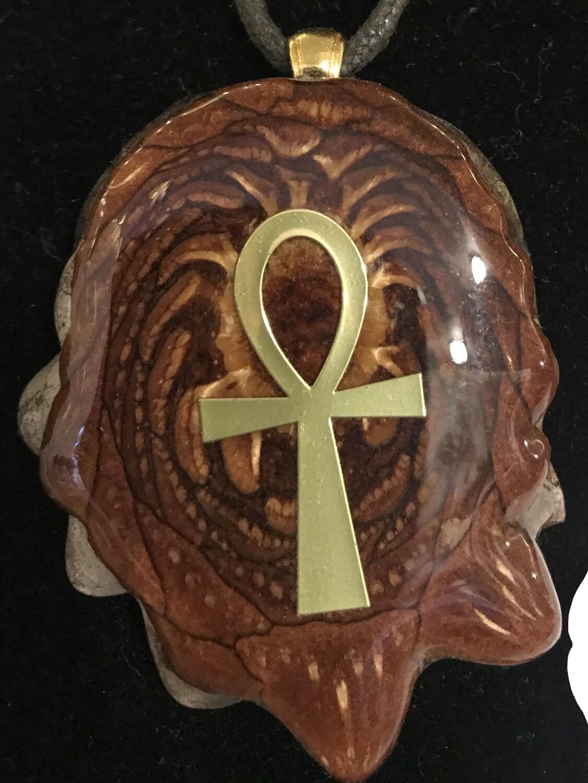 Golden Ankh Pine Cone Pendant Necklace