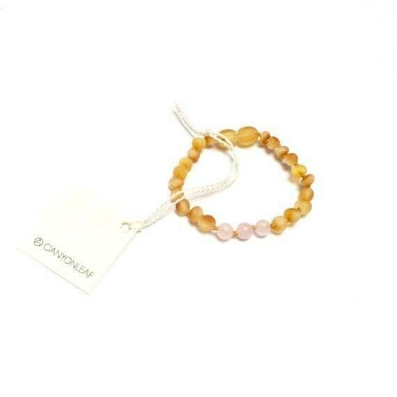 Raw Honey Amber + Rose Quartz Anklet or Bracelet $18