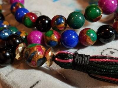 PMF02 Prayer Mala - Pink Riverstone, Onyx, Blue & Green Dolomite with mixed Lapis Ruby, & Emerald Chipped Beads