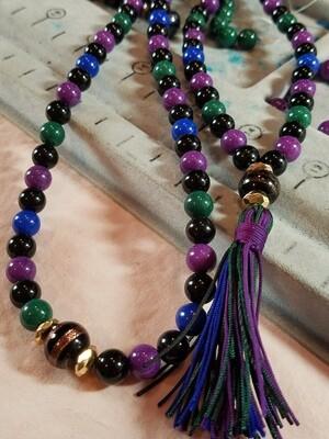 PMF03 Prayer Mala - Blue, Green, Purple Dolomite and Onyx with Lampwork Bead