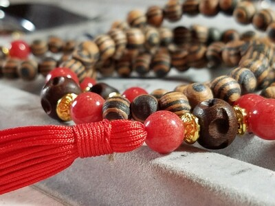 PMF09 Prayer Mala - Striped Amber Wood and Red Dolomite with Wood