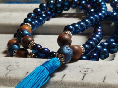 PMF07 Prayer Mala - Electric Blue Glass with Blue Clay & Wood