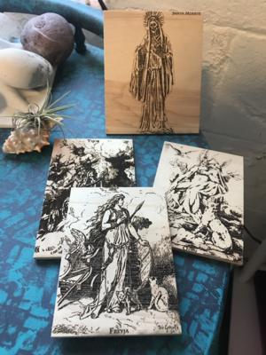 Altar Tiles, wood burned