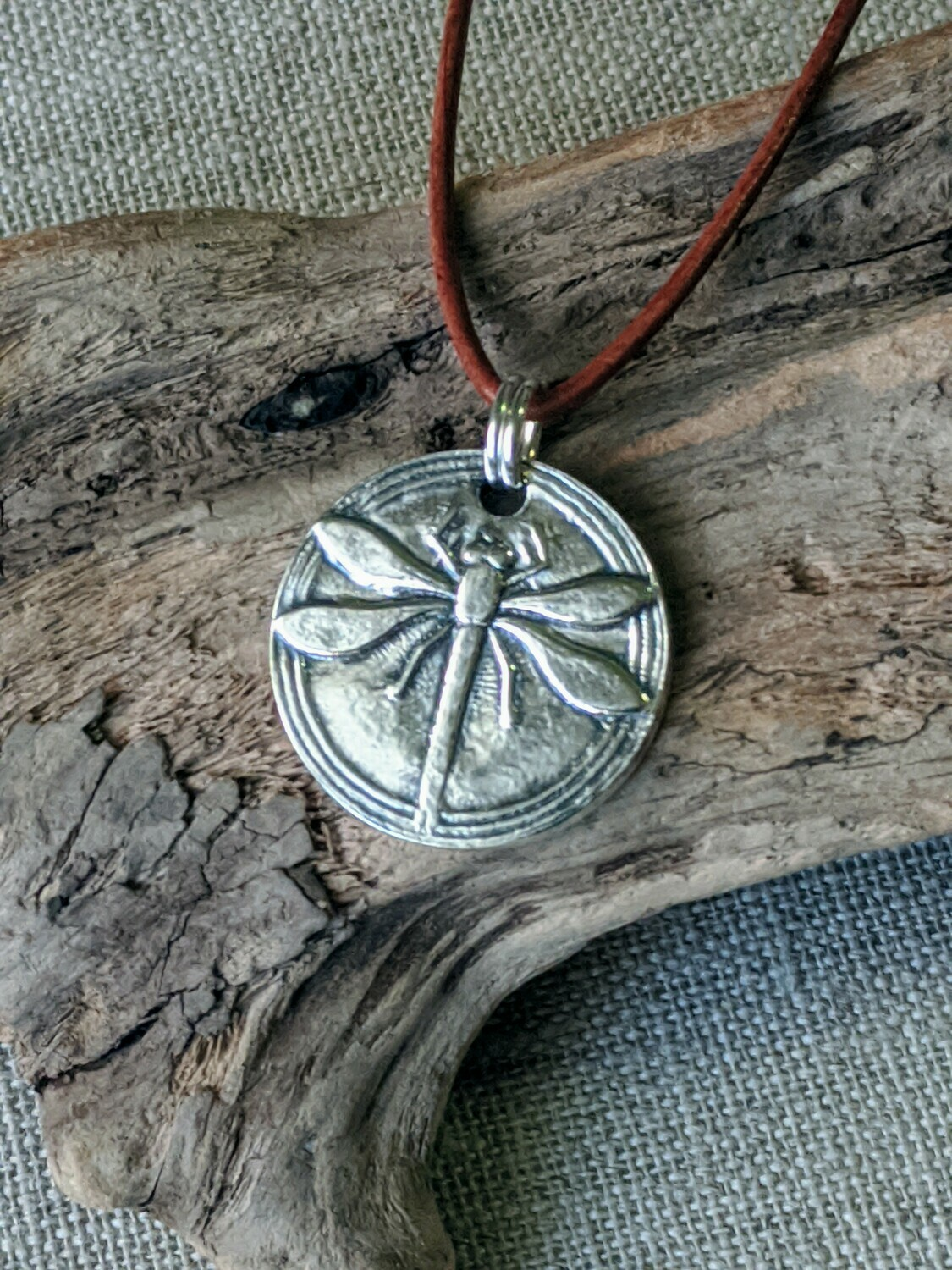 Round Dragonfly Pendant by Seaside Silver