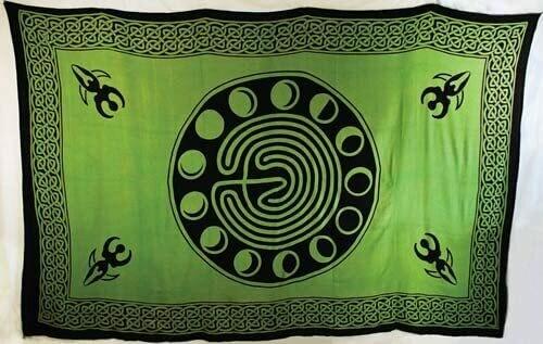 Moon Phase Goddess Tapestry, green/black