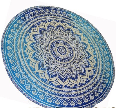 """Ombre Mandala Round Tapestry 72"""" blue"""