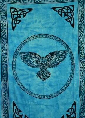 Owl Tapestry, Turquoise 72x108