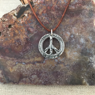 Large Peace Sign Pendant by Seaside Silver