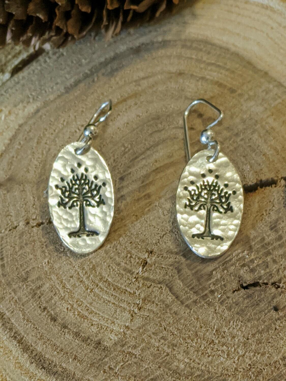 White Tree of Gondor (Tree of Life) Earrings by Seaside Silver