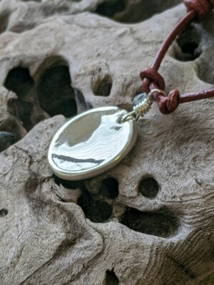 Protection Mirror Pendant w/silver chain by Seaside Silver