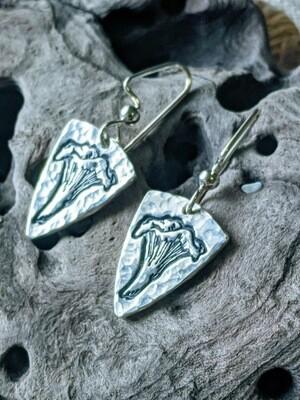 Chanterelle Mushroom Earrings by Seaside Silver