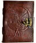 Fairy Moon Leather Journal With Clasp large